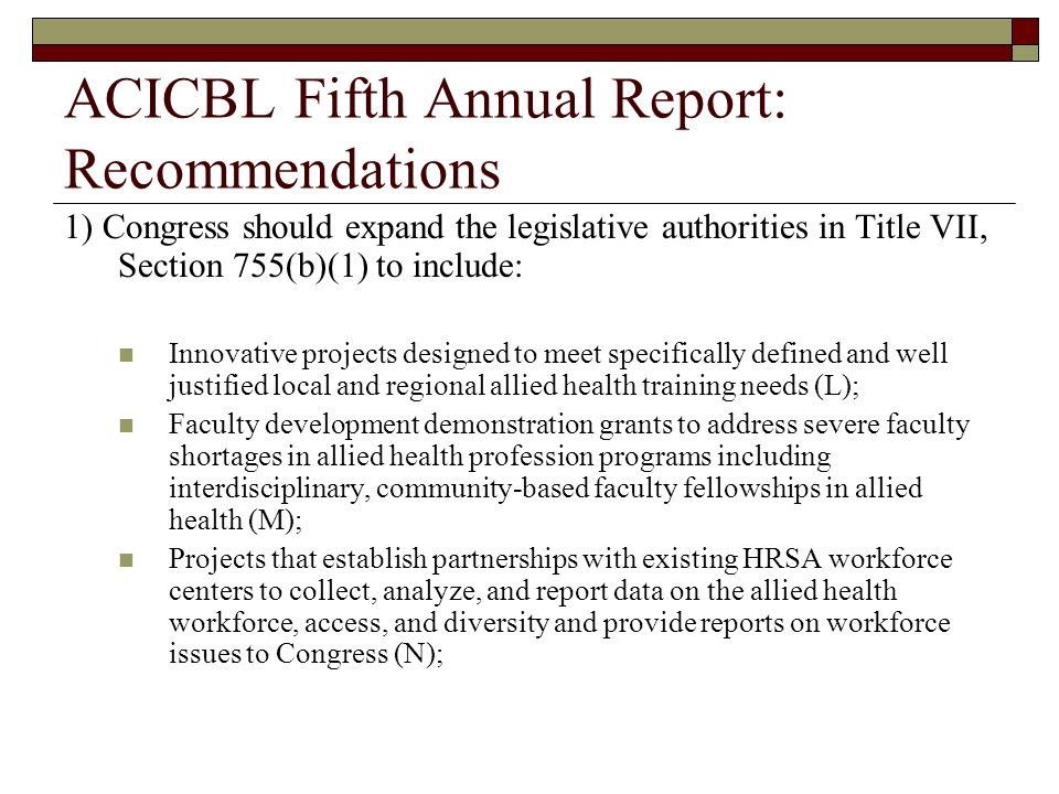 ACICBL Fifth Annual Report: Recommendations
