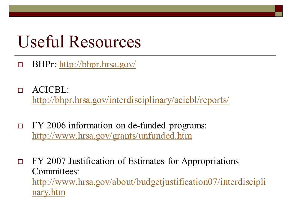 Useful Resources BHPr: http://bhpr.hrsa.gov/