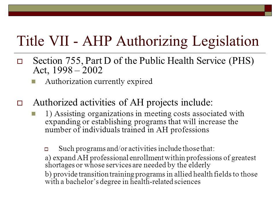 Title VII - AHP Authorizing Legislation