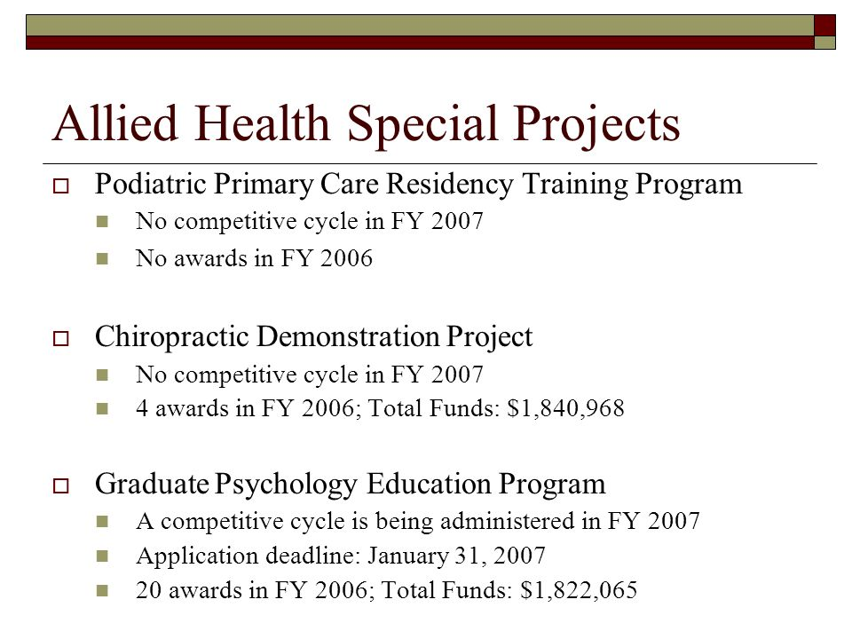 Allied Health Special Projects