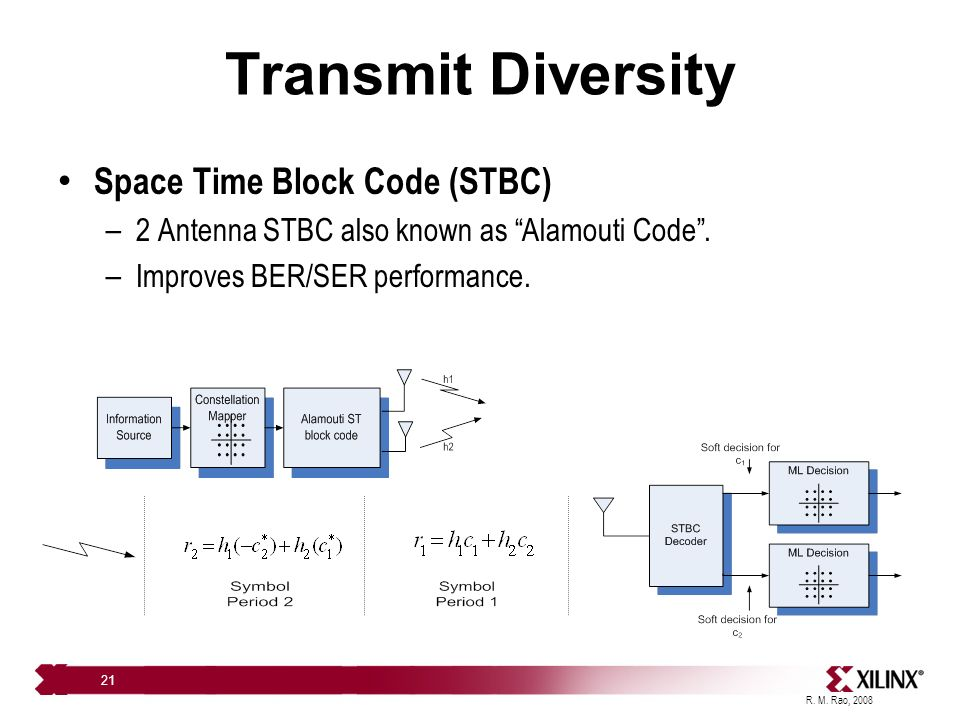 transmit diversity Transmit diversity miso = multiple input single output principle more complex than siso 2 or more transmitters and one receiver miso is more commonly.