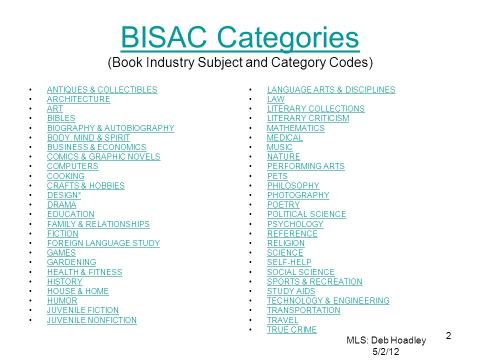 BISAC Categories (Book Industry Subject and Category Codes)