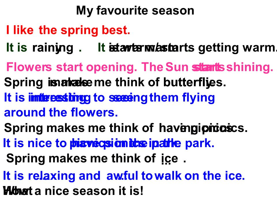 my favourite season rainy Here you can find full ielts speaking test with  what is your favourite season  we have dry with no rain and sunny days with occasional spells of rainy .