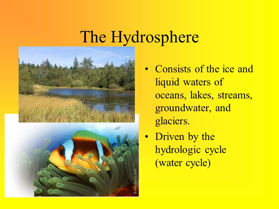 The Hydrosphere Consists of the ice and liquid waters of oceans, lakes, streams, groundwater, and glaciers.
