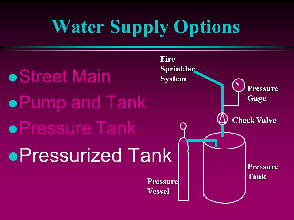Water Supply Options Pressurized Tank Street Main Pump and Tank