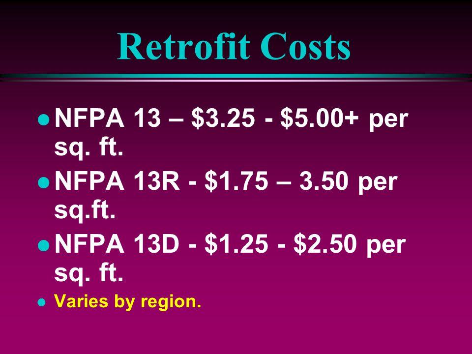 Retrofit Costs NFPA 13 – $3.25 - $5.00+ per sq. ft.