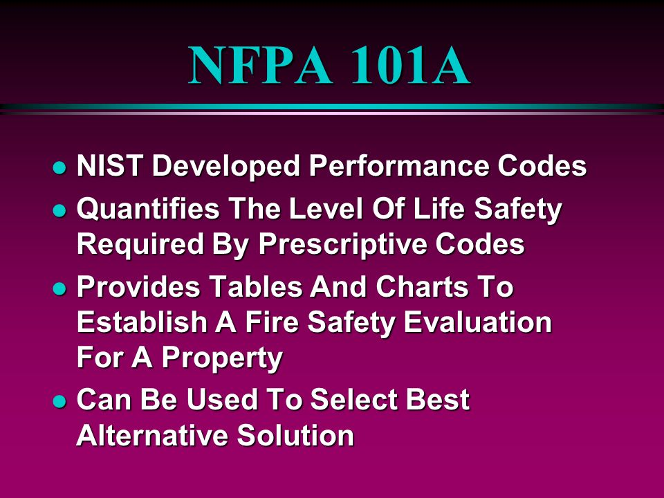 NFPA 101A NIST Developed Performance Codes