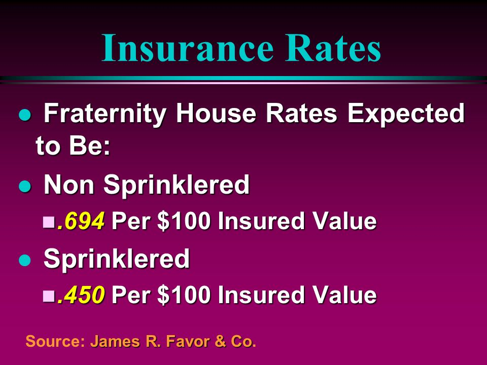 Insurance Rates Fraternity House Rates Expected to Be: Non Sprinklered