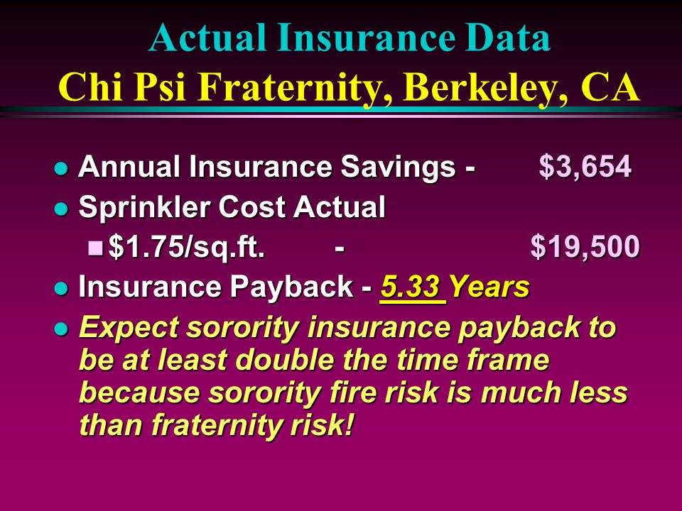 Actual Insurance Data Chi Psi Fraternity, Berkeley, CA