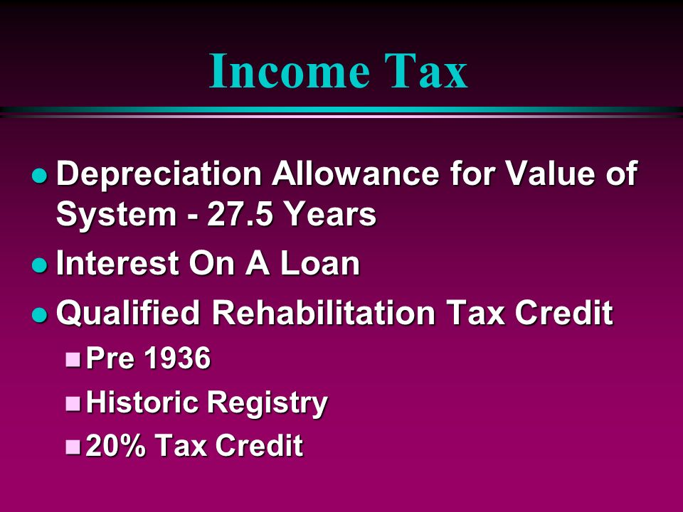 Income Tax Depreciation Allowance for Value of System - 27.5 Years