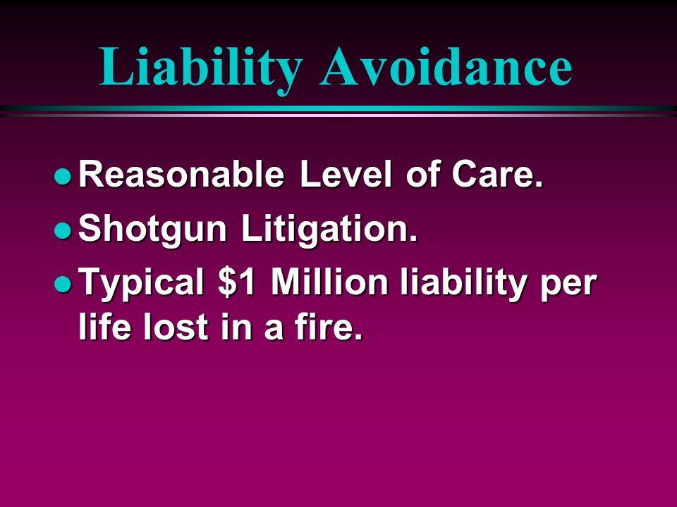 Liability Avoidance Reasonable Level of Care. Shotgun Litigation.