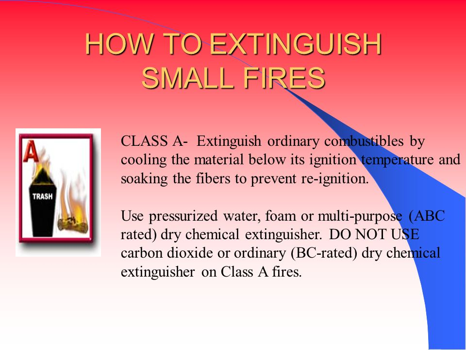 HOW TO EXTINGUISH SMALL FIRES
