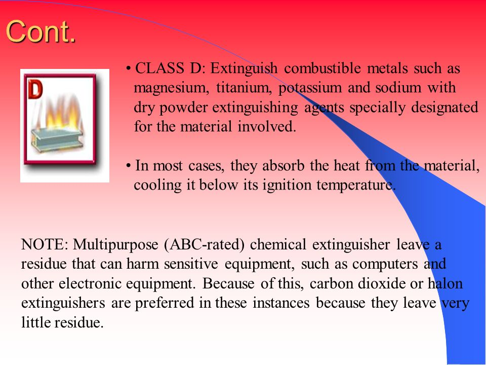 Cont. CLASS D: Extinguish combustible metals such as