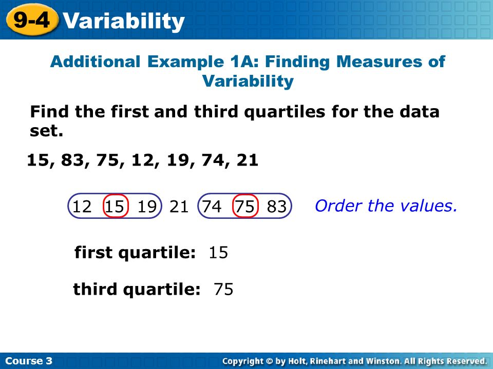 how to find the first second and third quartile