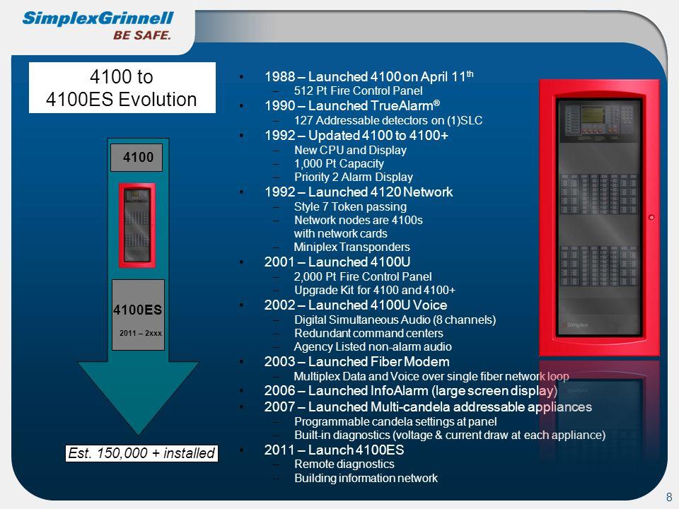 4100 to 4100ES Evolution 4100 4100ES Est. 150,000 + installed