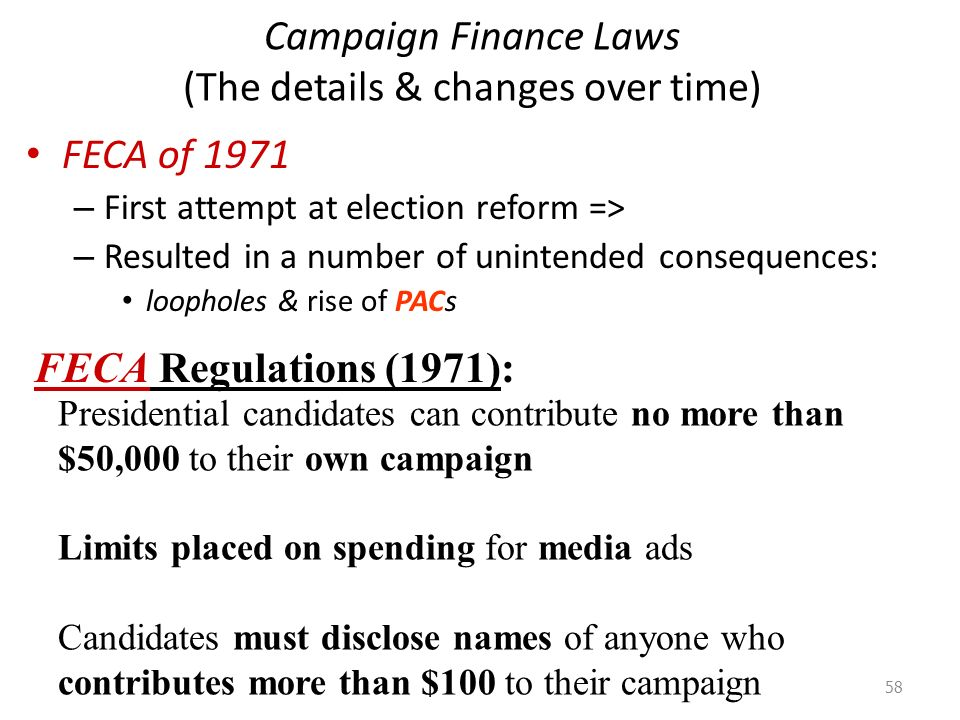 regulations on campaigns campaign finance reform essay The library of congress law library research & reports legal topics campaign finance campaigns regulation of to campaign reform.