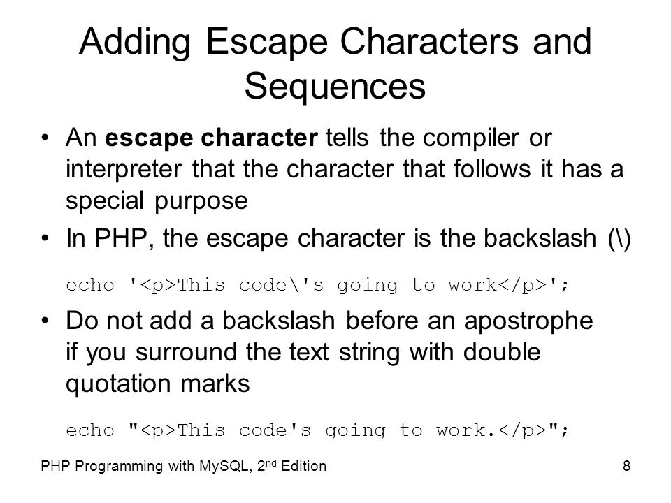 escape characters php