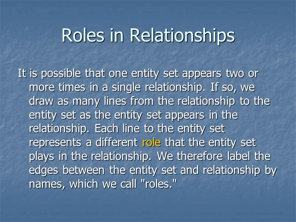 different role and relationship