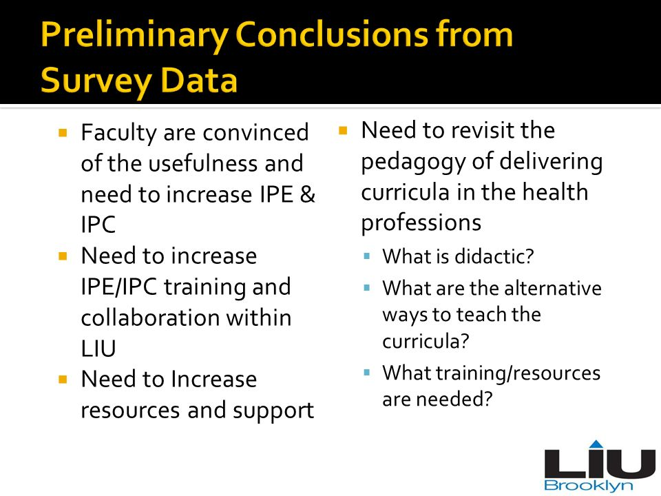 Preliminary Conclusions from Survey Data