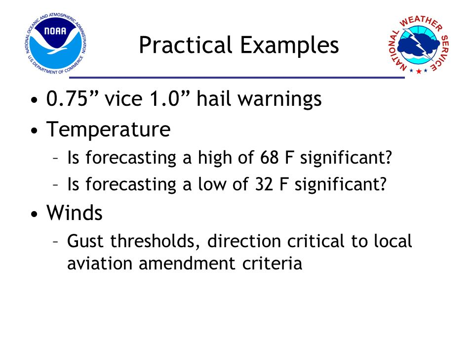 Practical Examples 0.75 vice 1.0 hail warnings Temperature Winds