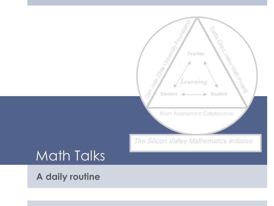 Math Talks A daily routine