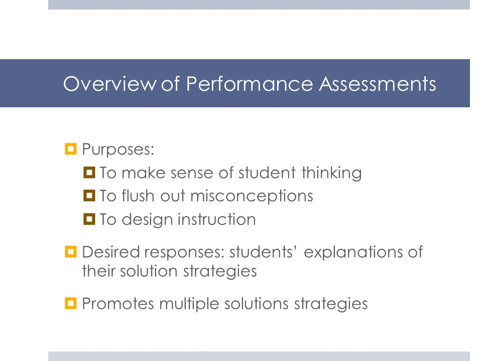 Overview of Performance Assessments
