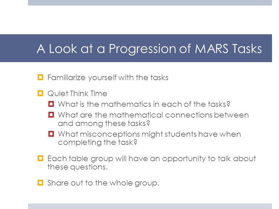 A Look at a Progression of MARS Tasks