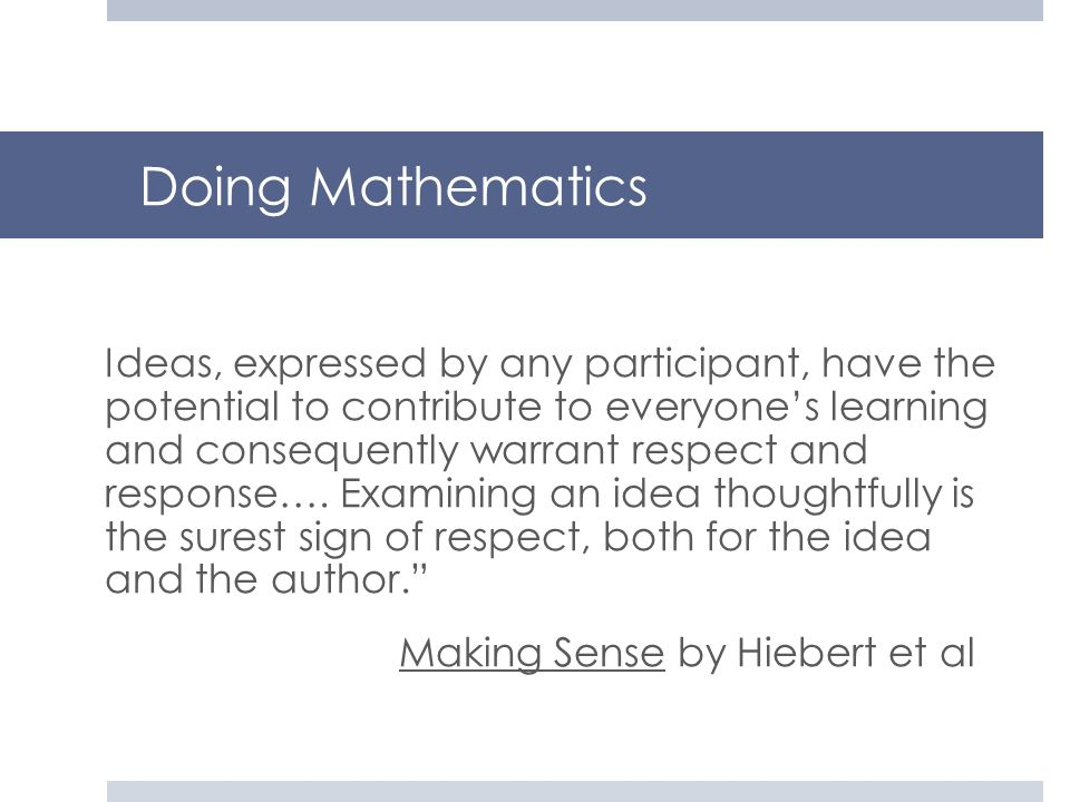 Doing Mathematics Making Sense by Hiebert et al