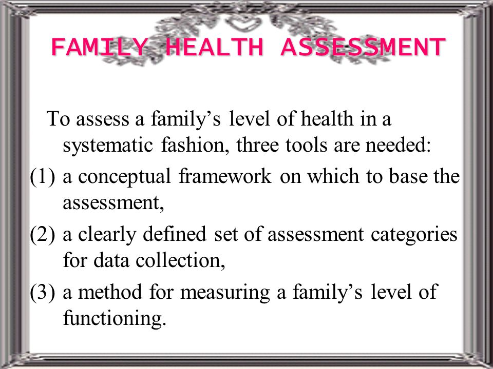 family health assessmeny Awareness of family health history as a risk factor for disease --- united the assessment of awareness of disease status among relatives was limited to type 2.