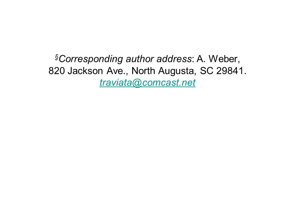 §Corresponding author address: A. Weber, 820 Jackson Ave