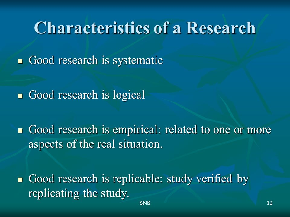 characteristics of research paper
