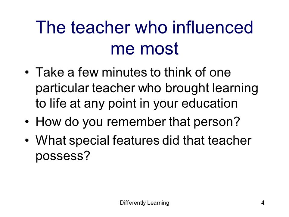 "a teacher who has influenced you in your education We asked some of our newest milken educators ""what factors influenced your decision to become a teacher""  a teacher ""my decision to enter education is a ."