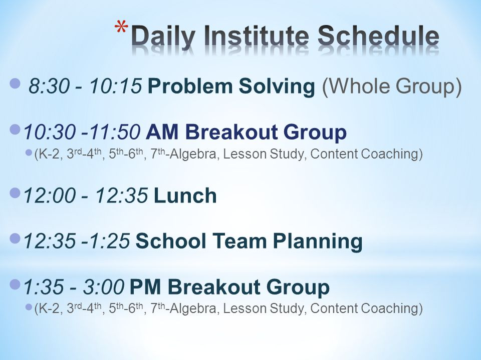 Daily Institute Schedule