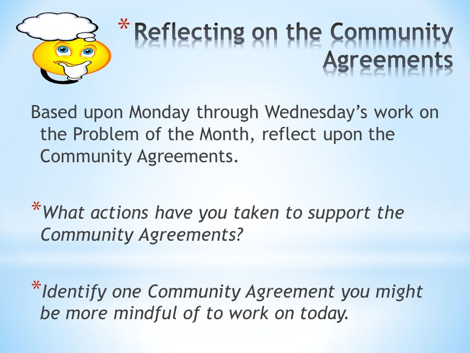 Reflecting on the Community Agreements