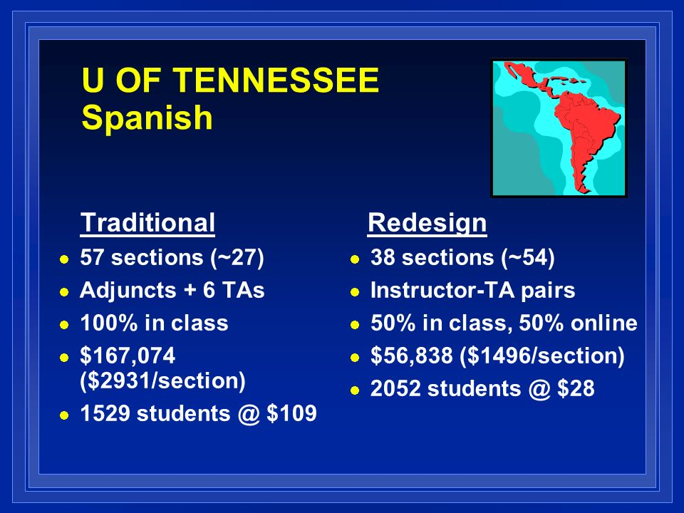 U OF TENNESSEE Spanish Traditional 57 sections (~27) Adjuncts + 6 TAs