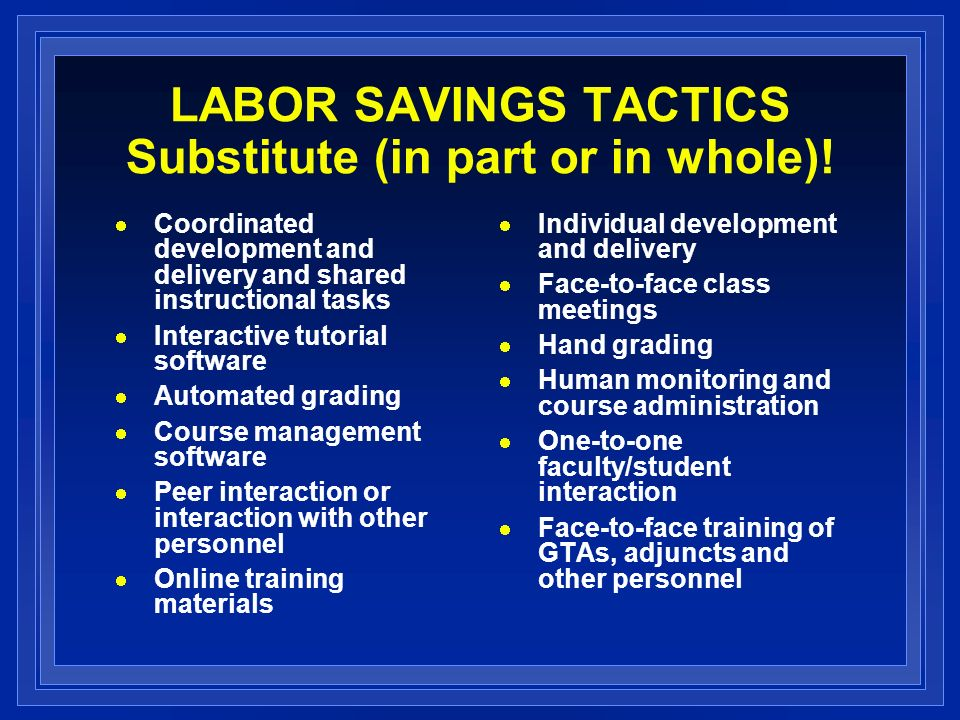 LABOR SAVINGS TACTICS Substitute (in part or in whole)!