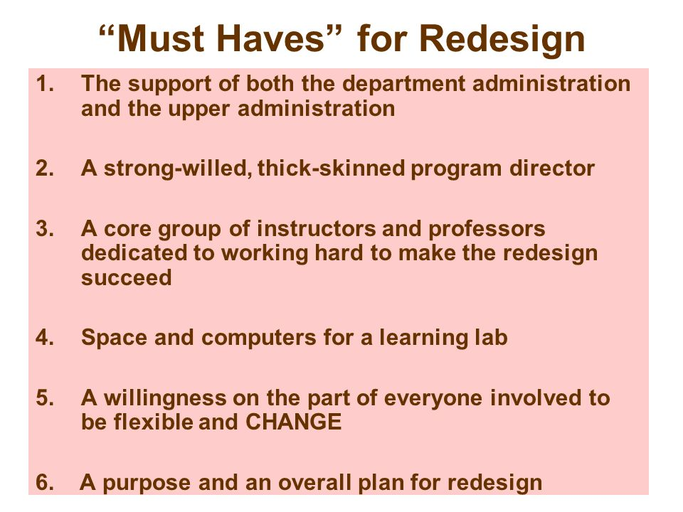 Must Haves for Redesign