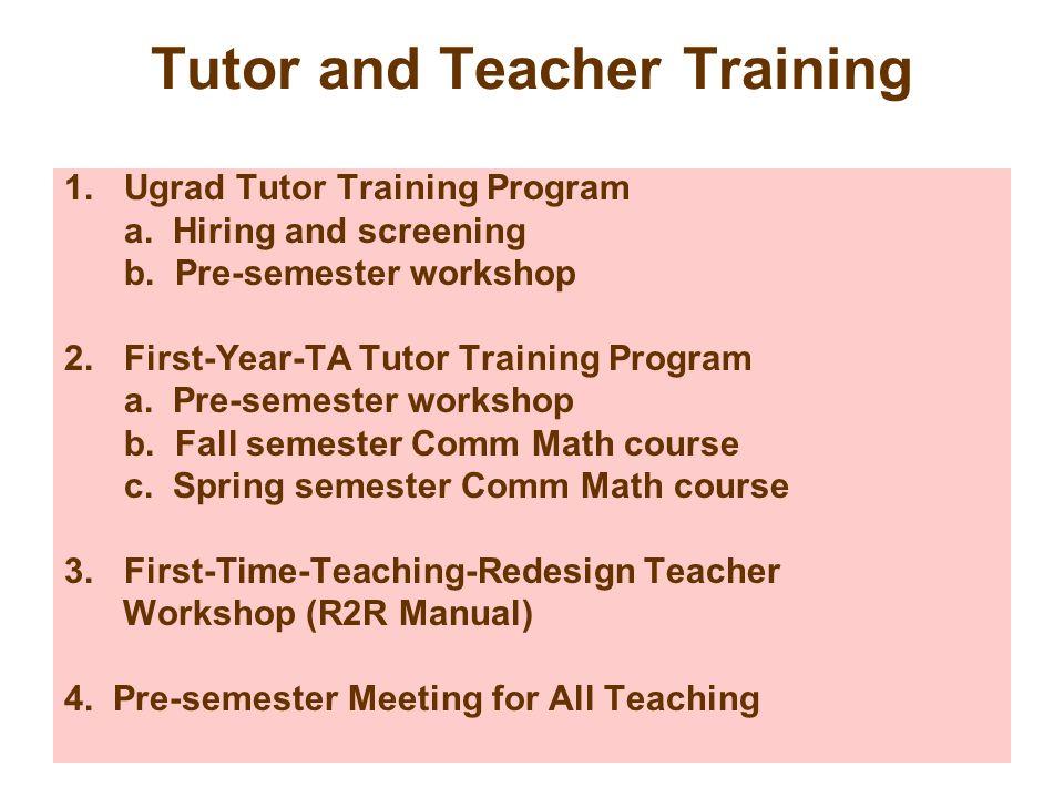 Tutor and Teacher Training