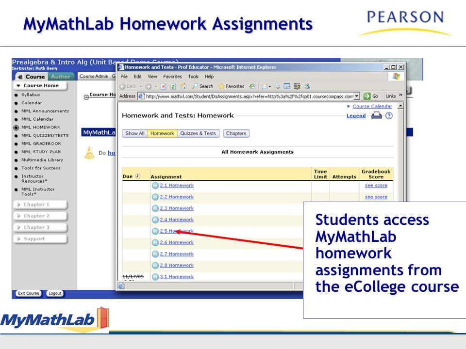 MyMathLab Homework Assignments