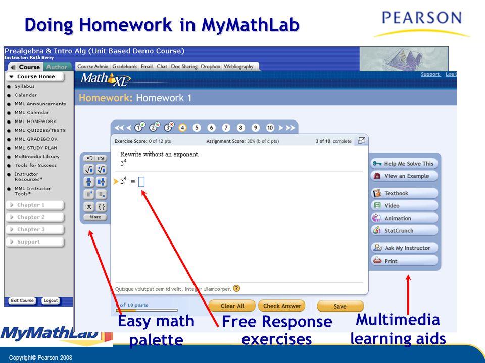 Doing Homework in MyMathLab
