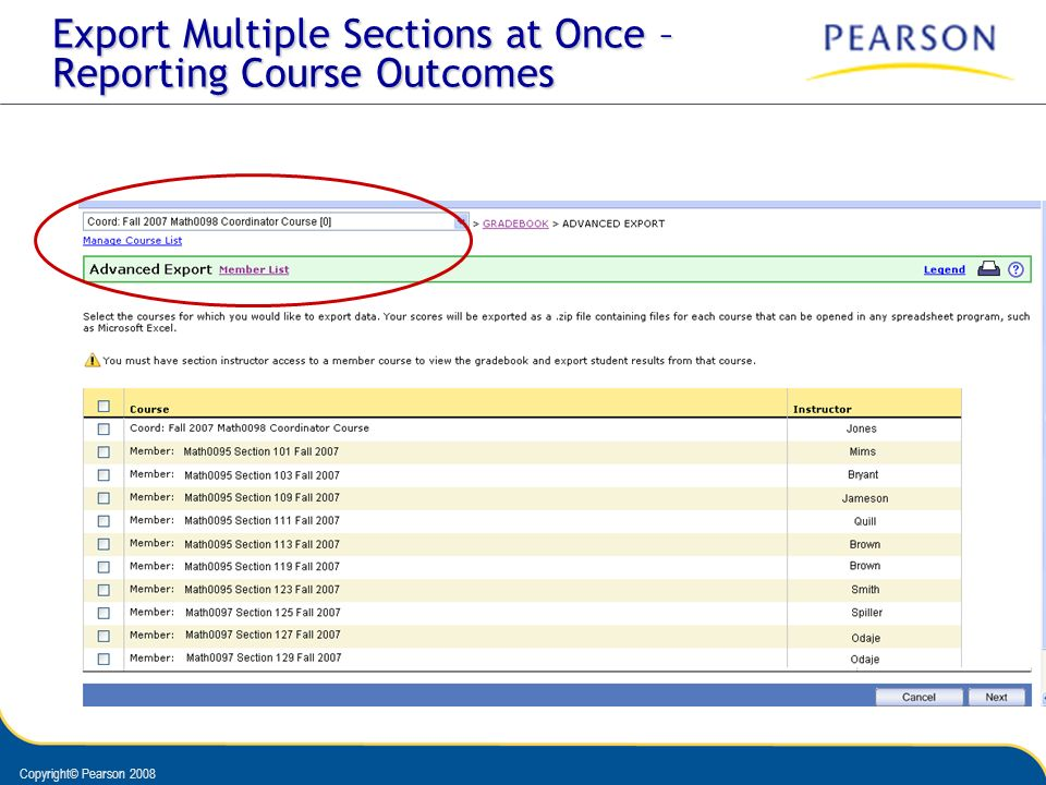 Export Multiple Sections at Once – Reporting Course Outcomes