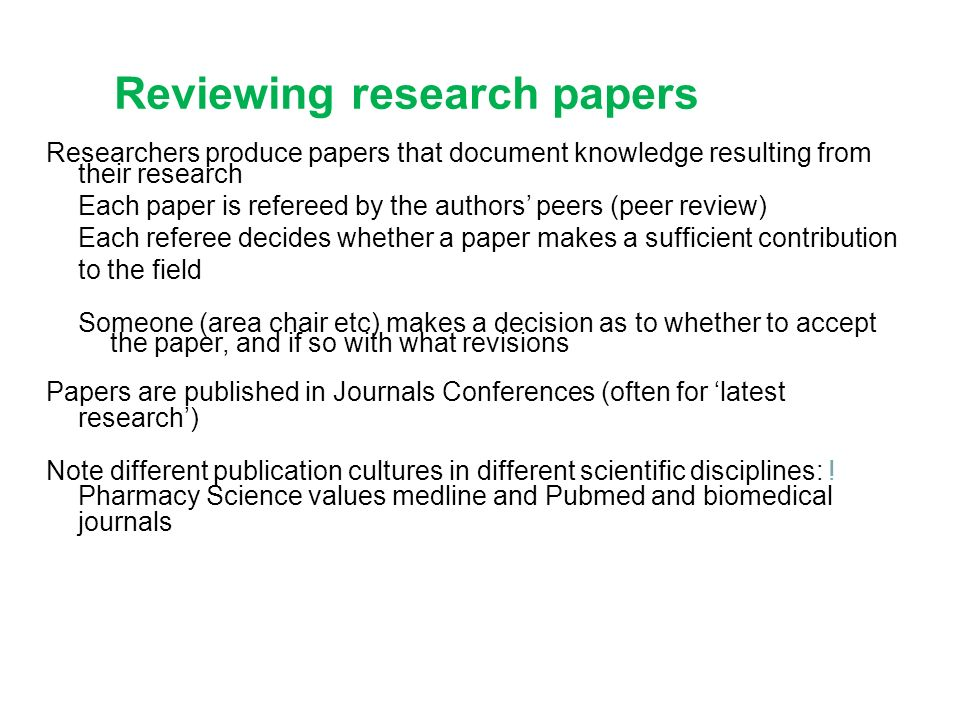 review of research papers What is a review of literature the format of a review of literature may vary from discipline to discipline and from assignment to assignment a review may be a self-contained unit -- an end in itself -- or a preface to and rationale for engaging in primary research a review is a required part of.