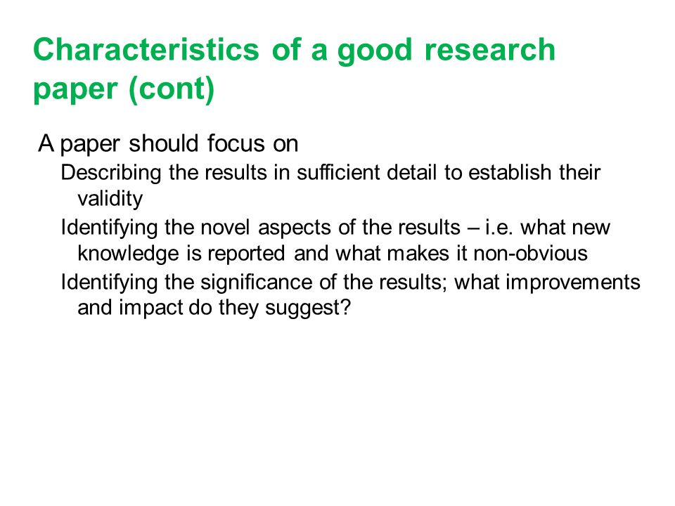 Characteristic of a good research paper