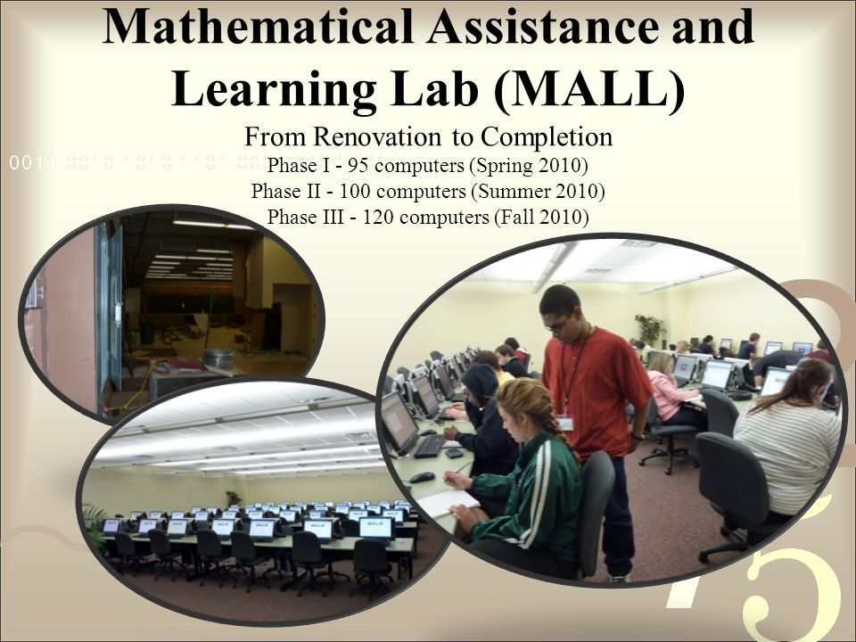 Mathematical Assistance and Learning Lab (MALL) From Renovation to Completion Phase I - 95 computers (Spring 2010) Phase II - 100 computers (Summer 2010) Phase III - 120 computers (Fall 2010)