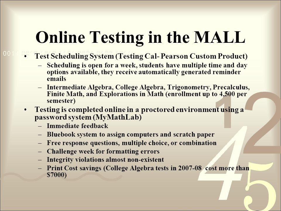 Online Testing in the MALL