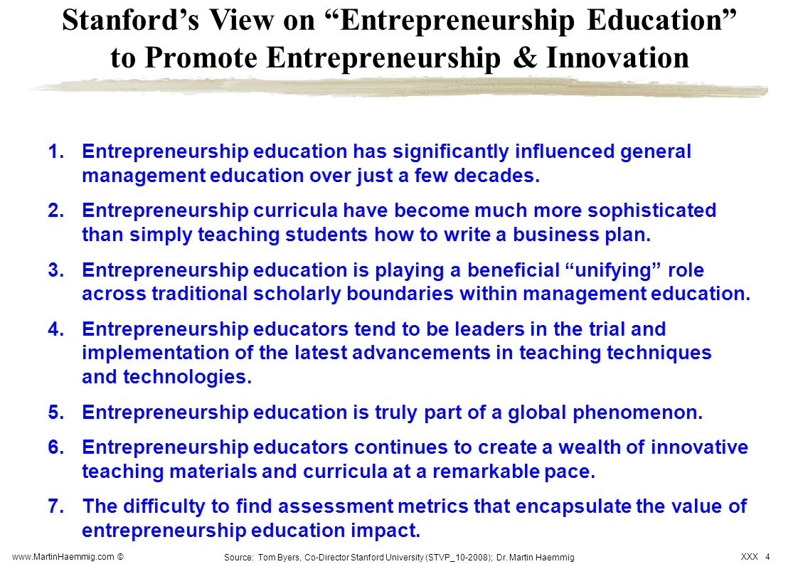 Stanford's View on Entrepreneurship Education to Promote Entrepreneurship & Innovation