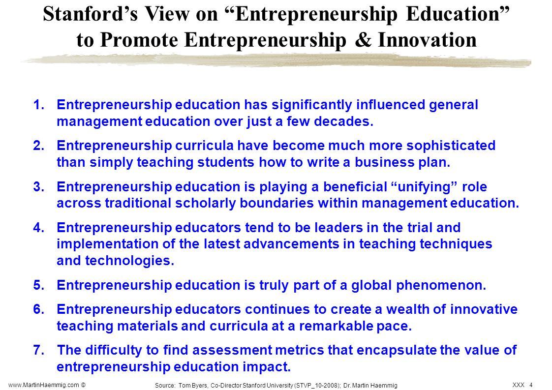 Stanford's View on Entrepreneurship Education to Promote Entrepreneurship & Innovation