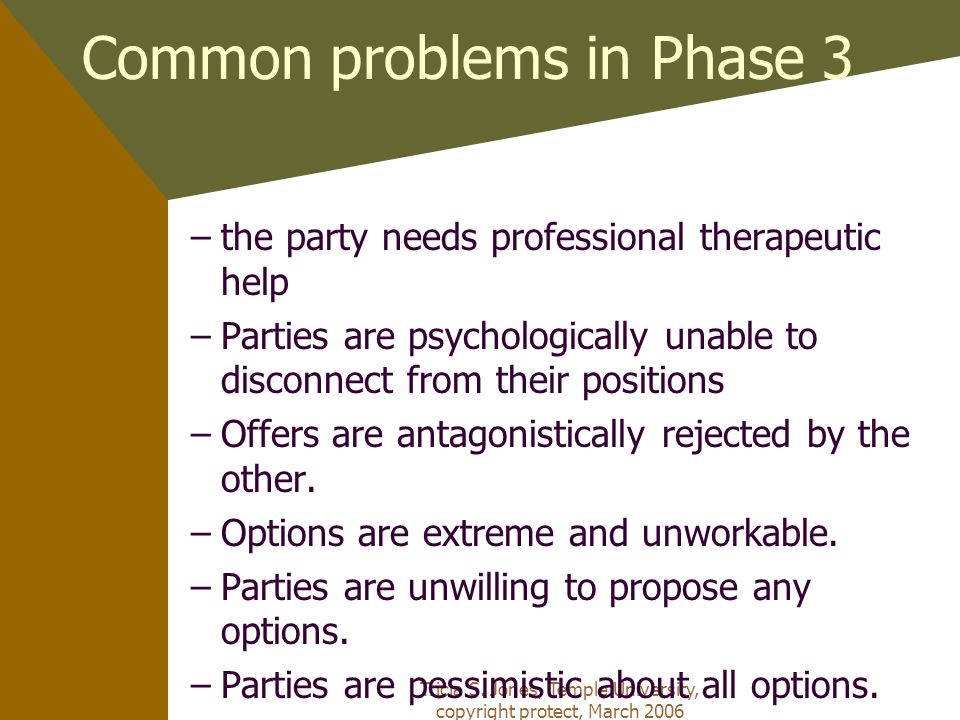 Common problems in Phase 3