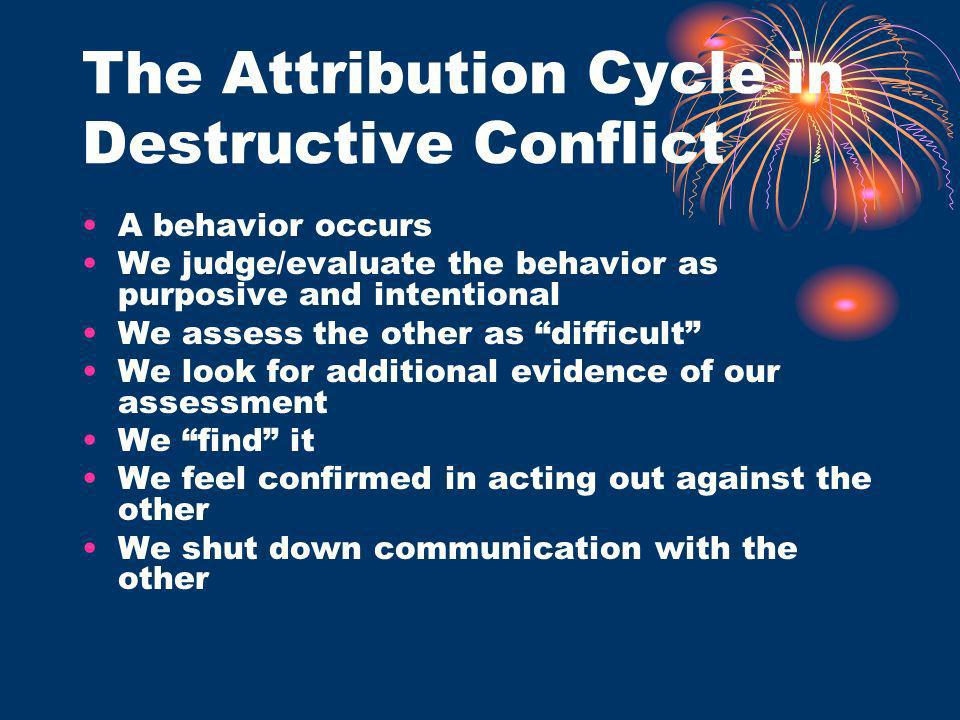 The Attribution Cycle in Destructive Conflict