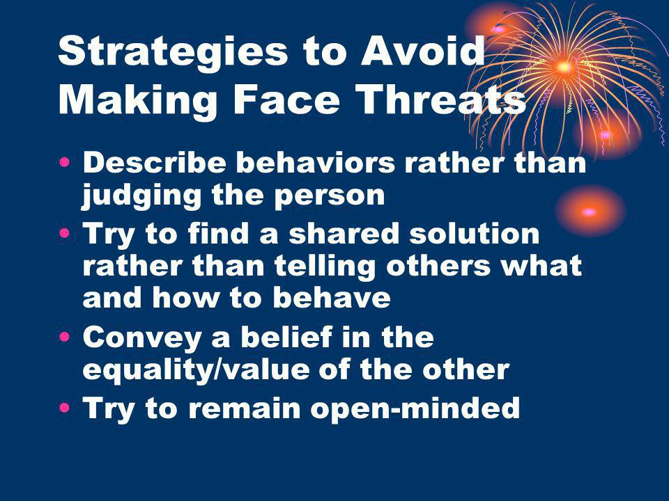 Strategies to Avoid Making Face Threats